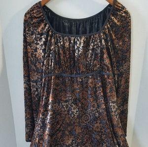 NWT L Mac Studio Copper Velvet Peasant Dress